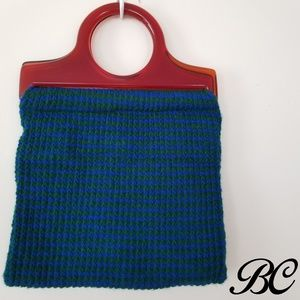 Vintage Handmade Knit Bag Purse Handbag Blue Green